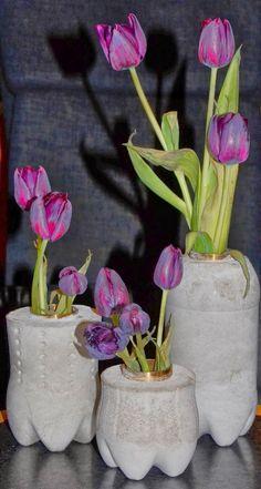 Made by jehul: concrete vases made in Coca-Cola, Fanta, Sprite