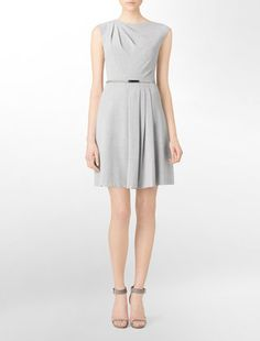 ShopStyle: Belted Pleated Fit + Flare Dress