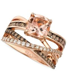Le Vian Peach Morganite (1-3/4 ct. t.w.) and Diamond (3/4 ct. t.w.) Ring in 14k Rose Gold | macys.com