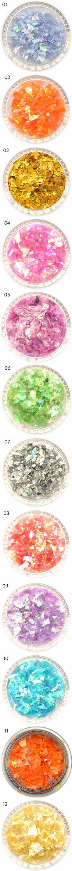 $1.59 1 Box Dazzling Nail Art Glitter Irregular Sweet Color Powder Sheets Tips Nail Art Decoration - BornPrettyStore.com