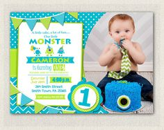 1st Birthday Invitation Boys / Green Blue by PixiePerfectParties