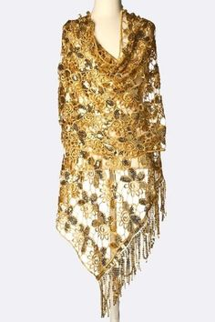 5ae85948468 B52 Gold Metallic Crochet Flower Shawl Scarf Wrap Elegant Boutique  299