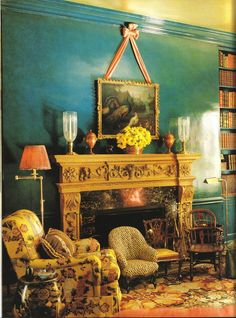 Prussian Blue Glazed Walls from Renowned Designer: Mario Buatta     3.bp.blogspot.com