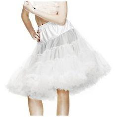 "Hell Bunny  womens White 25"" Long Full Net retro 50s Swing Petticoat"