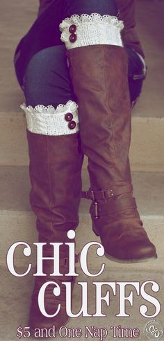 Chic Cuffs Add lace trim to some cut off sweater sleeves for cute and easy boot cuffs Diy Fashion, Winter Fashion, Womens Fashion, Fashion Trends, Boot Cuffs, Boot Socks, Lace Cuffs, Ugg Boots, Shoe Boots
