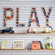 20 Fantastic Kids Playroom Design Ideas – Modern Home Playroom Wall Decor, Modern Playroom, Colorful Playroom, Playroom Organization, Playroom Design, Boy Wall Decor, Letters On Wall Decor, Boys Playroom Ideas, Playroom Colors