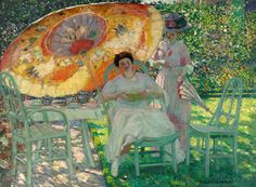 "Frederick Carl Frieseke (1874-1938), ""The Garden Parasol"" - North Carolina Museum of Art ~ Raleigh, North Carolina, USA"