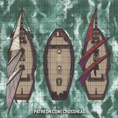 Schooner Ship River coastal fast Battlemap for D&D Dungeons and Dragons Pathfinder & other RPG games CrossheadStudios Dungeons And Dragons Homebrew, D&d Dungeons And Dragons, Pathfinder Maps, Ship Map, Rpg Map, Dungeon Maps, Dungeon Tiles, Map Layout, Map Maker