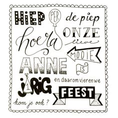 Handlettering uitnodiging verjaardagsfeestje Brush Lettering Quotes, Doodle Lettering, Creative Lettering, Hand Lettering Alphabet, Doodle Drawings, Smash Book, Happy Birthday Cards, Diy Cards, Diy For Kids