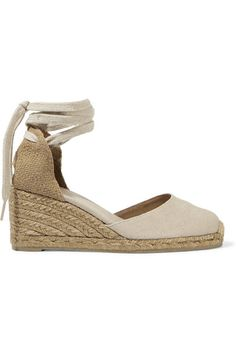 f23be450b90a Wedge heel measures approximately inches Oatmeal canvas Ties at ankle  Imported