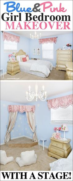 Girl bedroom makeover with built in stage! Can you imagine the slumber parties?!