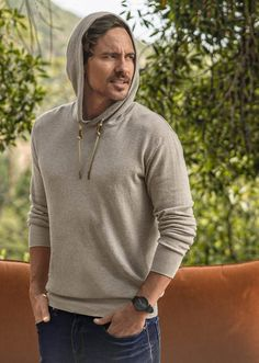 The Throw On Hooded Sweater is cut from organic cotton for a standard fit. Hooded Sweater, Men Sweater, Male Fashion, Fair Trade, Organic Cotton, Going Out, Tuesday, Hoods, Stylish