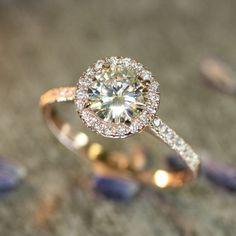 14k Rose Gold Halo Diamond Moissanite Engagement Ring in Half Eternity Diamond Wedding Band 7mm Round Forever Brilliant Moissanite Ring