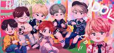 Kpop Posters, Blackpink And Bts, Line Friends, Bts Chibi, Pop Bands, Bts Fans, Namjoon, Fan Art, Anime