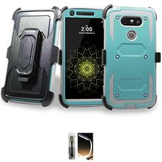 Mstechcorp LG - with Built-in [Screen Protector] Heavy Duty Full-Body Rugged Holster Armor Case [Belt Swivel Clip][Kickstand] with Gift (Teal Gray) Lg G5, Cool Phone Cases, Nintendo Consoles, Screen Protector, Amazon, Building, Awesome, Amazons, Riding Habit