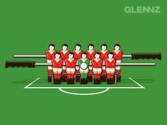 "Glennz Tees Designs 2008-09 by Glenn Jones, via Behance ""Team photo"""