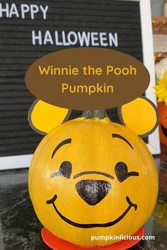 Winnie the Pooh pumpkin painting Pumpkin Decorating Contest, Pumpkin Contest, Pumpkin Ideas, Cute Pumpkin, Halloween Pumpkin Designs, Halloween Crafts For Kids, Halloween Pumpkins, Spooky Halloween, Halloween Decorations