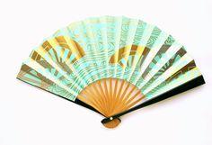 Vintage Japanese Fan - Sensu Paper Fan -  Small Size Bridal Fan (F1-5) Water  With Lots of Gold