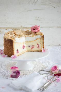 raspberry polka-dot cheesecake with meringue.