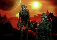 Monsters?  No, early human like inhabitants on a harsh and desolate planet trying to survive.
