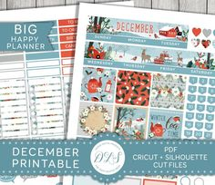 Style your monthly January Happy Planner spread with this cute, wintry printable planner stickers kit from Design Lovely Studio! Free Planner, Happy Planner, Monthly Planner, Year Planner, Planner Journal, Planner Ideas, Printable Planner Stickers, Free Printables, Planner Decorating