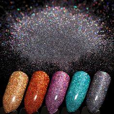 5 Colors Holographic Laser Nail Glitter Powder Set Gold Blue Black Ultra-thin Shining Nail Art Dust Pigment Manicure Decoration