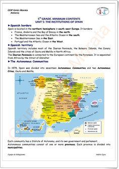 """Unidad 6 de Social Science de 5º de Primaria: """"How Spain is organised"""" Bay Of Biscay, Mediterranean Sea, Atlantic Ocean, Social Science, Europe, The Unit, France, Socialism, Teaching Resources"""