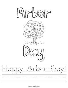 Happy Arbor Day Worksheet - Twisty Noodle