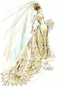 Bob Mackie sketched up this AMAZING gown to show how he envisioned the soon to be princess to look on her wedding day.