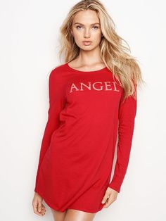 6777a92c42 Victoria s Secret Angel Sleep Shirt V Back Red Size Extra Large (XL) NWT