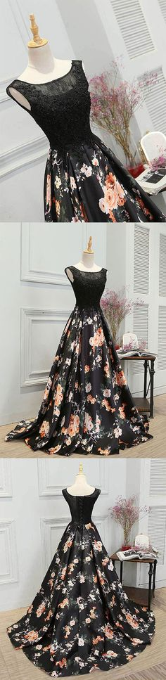 Black floral pattern long prom dress, evening dress