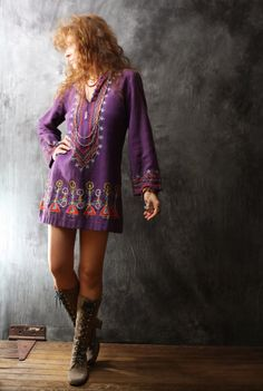Vintage Dress 1960s Hippie India Embroidered Cotton by MajikHorse