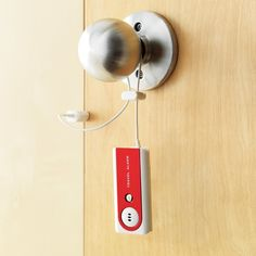 Motion Sensitive Portable Door Alarm / This Portable Door Alarm is motion sensitive and will give you complete peace of mind when you're traveling and sleeping in strange hotel rooms. http://thegadgetflow.com/portfolio/motion-sensitive-portable-door-alarm/