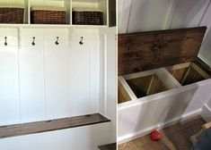 DIY Mudroom Bench video tutorial: maybe this is the way to store the swim bags -- underneath.