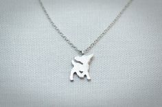 Bambi pendant necklace in white gold Animal necklace by nicolesbox, $12.90