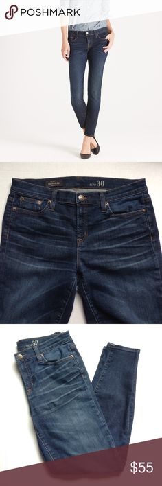 "J.Crew toothpick jeans dark wash. J.Crew toothpick jeans dark wash. Inseam is 27"". No holes or stains just have some minor pillings at the back area. In great condition. 89% cotton, 8% polyester, 3% spandex. J. Crew Jeans Skinny"
