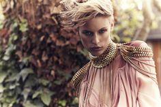 Jade Jackson photographed by Amanda Fordyce gold designer neck shoulder fashion