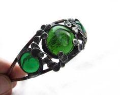 Unique Gift  For Her Green Bracelet Handmade Art by MARIAELA