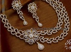 Jewellery Designs: Floral Hangings 2 Layers Diamond Set