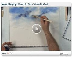 Learn how to create a Beautiful Washed Sky Using Watercolors by Wilson Bickford #watercolorarts