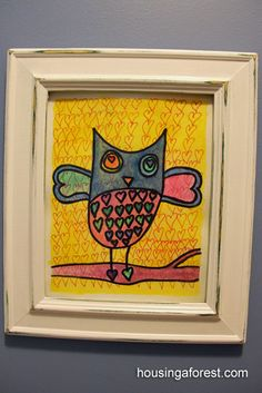 "I'm a sucker for Kid Art, Period!    But what a cute Idea. It's listed as ""Valentine Owls"" but it wouldn't hafta be!"