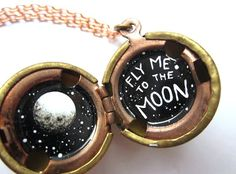 Oil Painted Locket Fly Me to the Moon in Miniature by kharaledonne, $38.00 - frank sinatra, locket, etsy = <3.