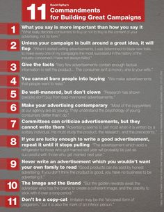 David Ogilvy's 11 Commandments for Building Great Campaigns via his book, Confessions of an Advertising Man.