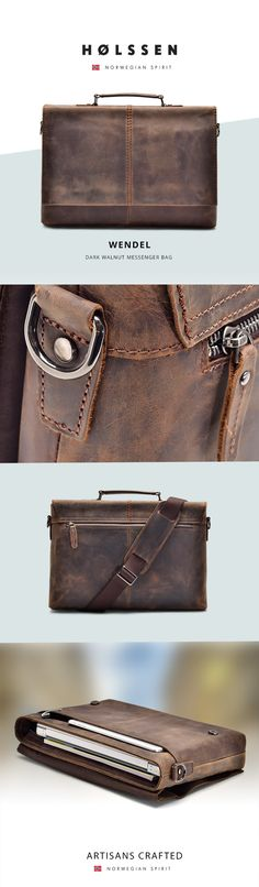 Our Holssen Wendel Messenger bag is a smart flap-over slim messenger bag handcrafted with top grain leather that age with grace. This bag features a leather shoulder strap that allows extra support across the shoulder and a leather handle that allows it to be carried like a briefcase. With a front sleeve and a back zip pocket, you get plenty of space for your workday essentials, making it great for work or school.