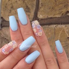 Not a fan of clear nails but I like the flowers