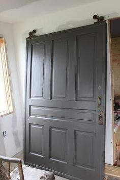 Door Painted With Dragonu0027s Breath By Benjamin Moore. One Of The Best  Interior Door And Cabinet Colors. Perfect Barn Doors And Color For Master  Closet!