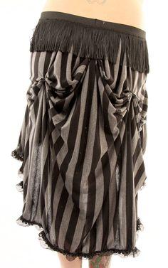 Grey on Grey Stripe Bellydance Tribal Skirt with Fringe. $45.00, via Etsy.