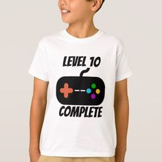 #Level 10 Complete 10th Birthday T-Shirt - #giftidea #gift #present #idea #10th #tenth #bday #birthday #10thbirthday #party #teen