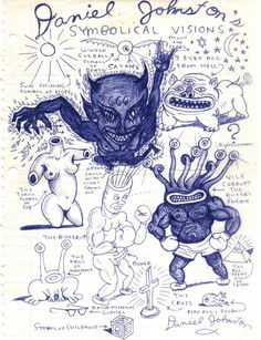 """ Daniel Johnston decodes the recurring figures in his drawings. Kunstjournal Inspiration, Art Journal Inspiration, Art Inspo, Creative Inspiration, Art Hippie, Arte Grunge, Art Visionnaire, Arte Punk, Daniel Johnston"