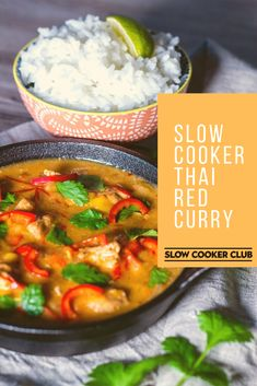 If you're a fan of Thai food then a Slow Cooker Thai Red Curry is a must try – a good hit of chilli, sweetness, and buckets of flavour, all on one plate! Slow Cooker Thai Curry, Crock Pot Curry, Slow Cooker Chicken Curry, Slow Cooker Huhn, Slow Cooker Recipes, Crockpot Recipes, Cooking Recipes, Slow Cooker Dinners, Delicious Recipes